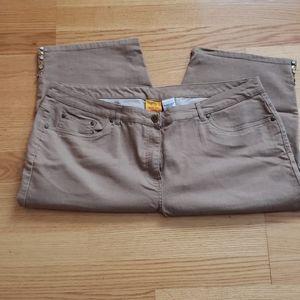 Ruby Rd. Tan Denim Capri Pants